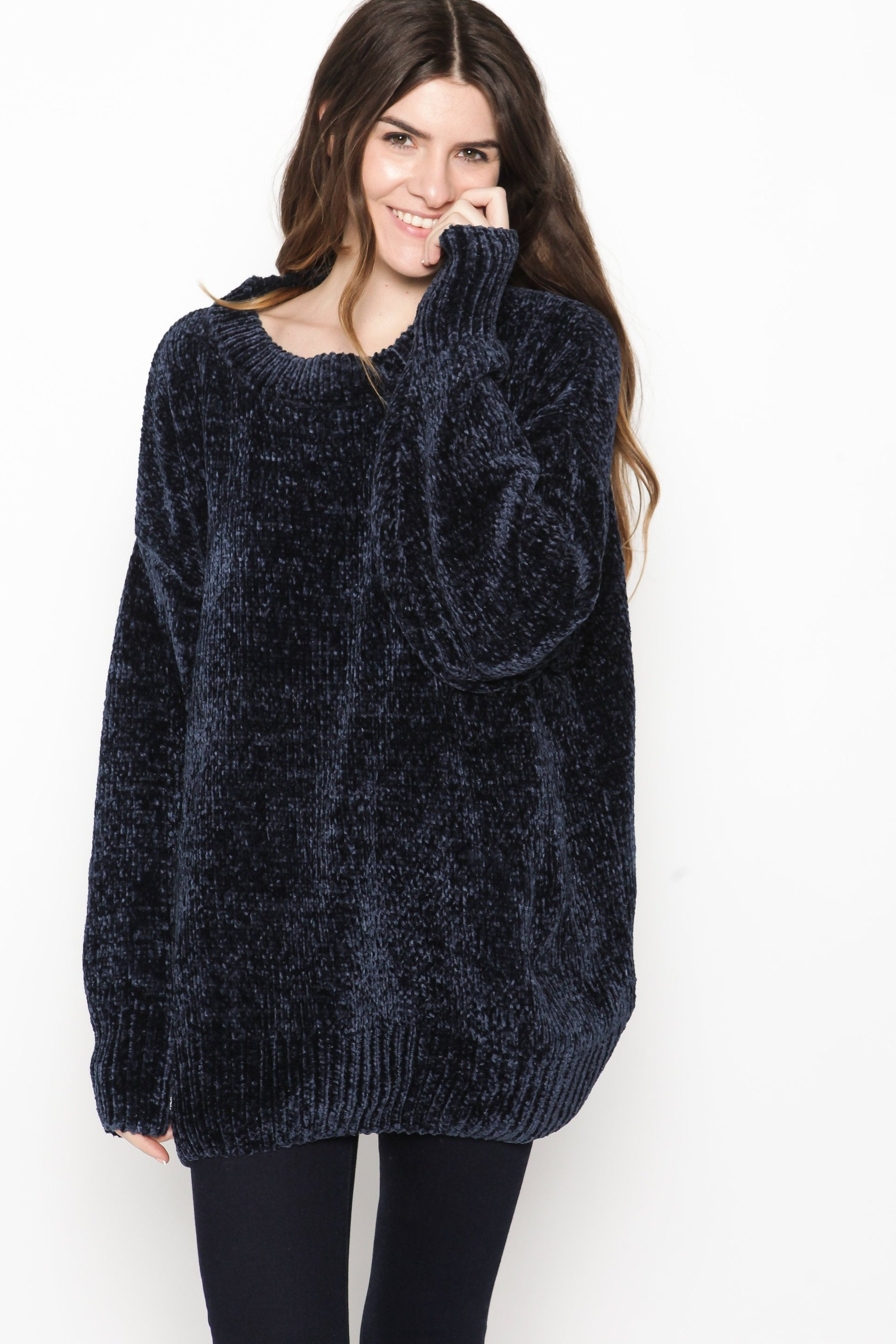 Adele Chenille Sweater - Navy Cardigan & Sweaters - Vinnie Louise