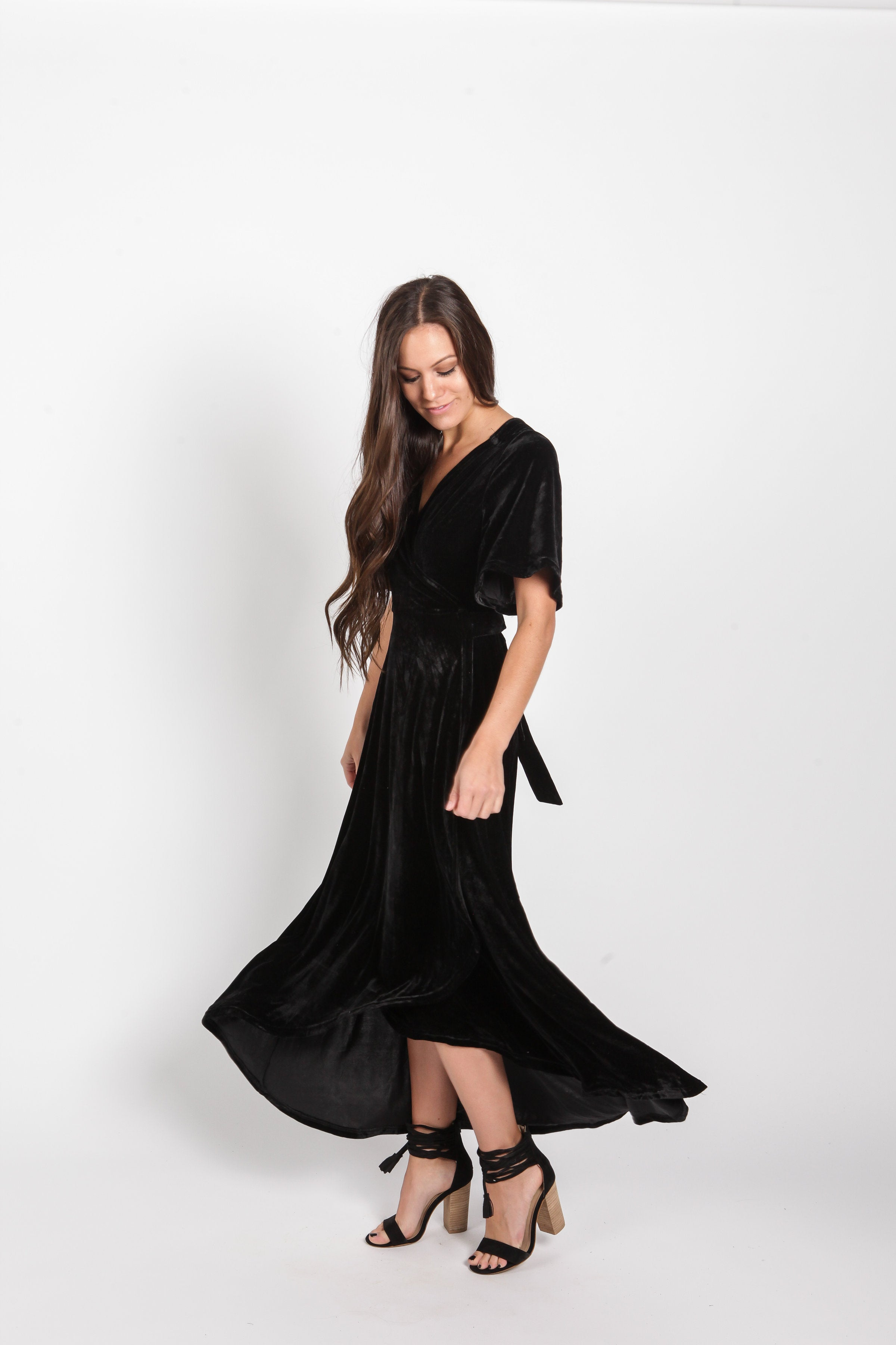 Adeline Velvet Maxi Dress - Black