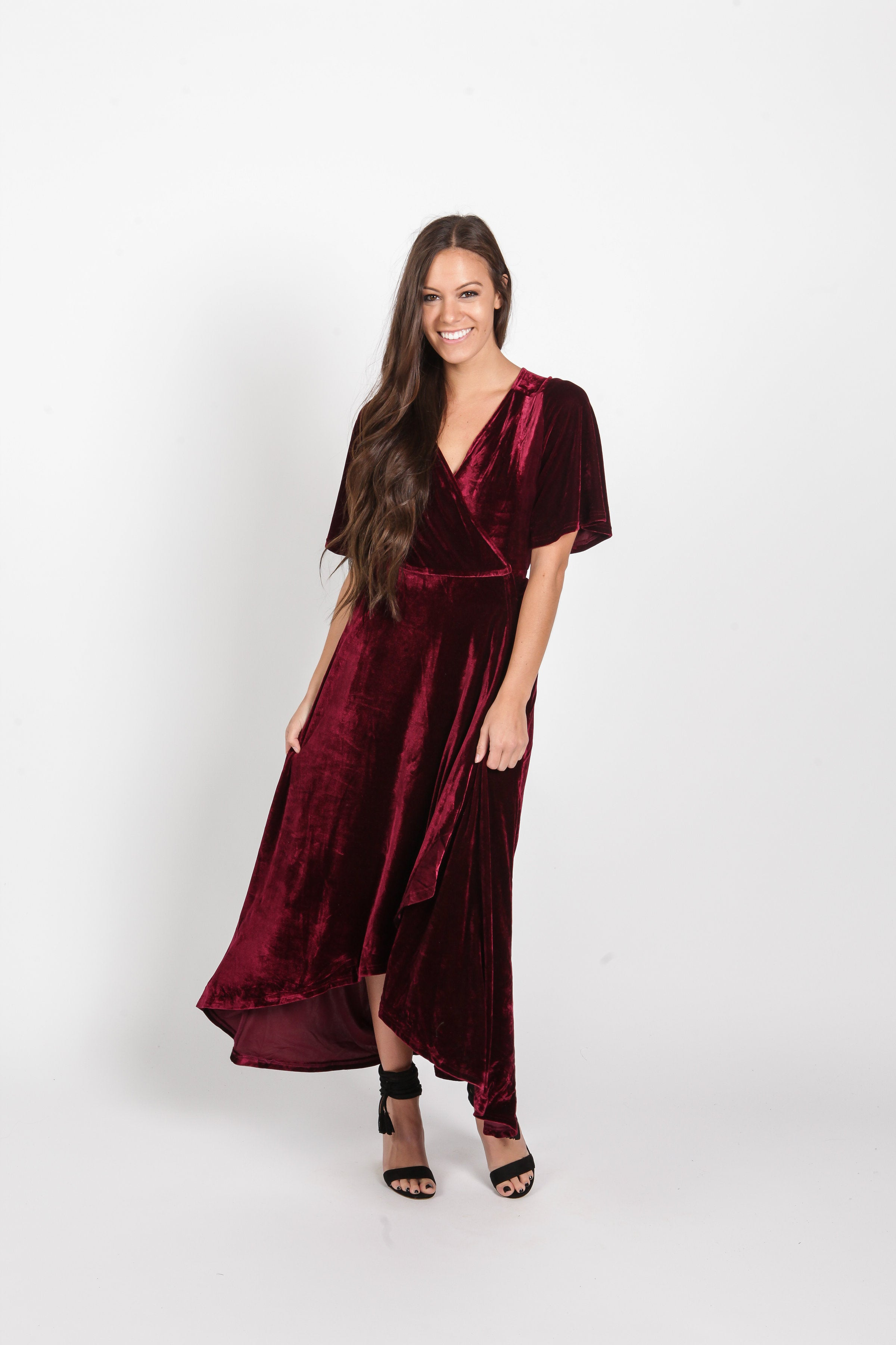 Adeline Velvet Maxi Dress - Wine