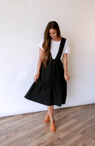 Alex Tiered Overall Dress - Black