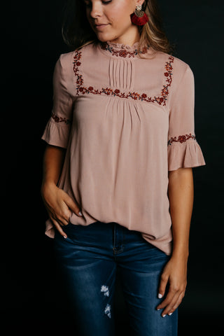 Amelia Embroidered Top - Mauve