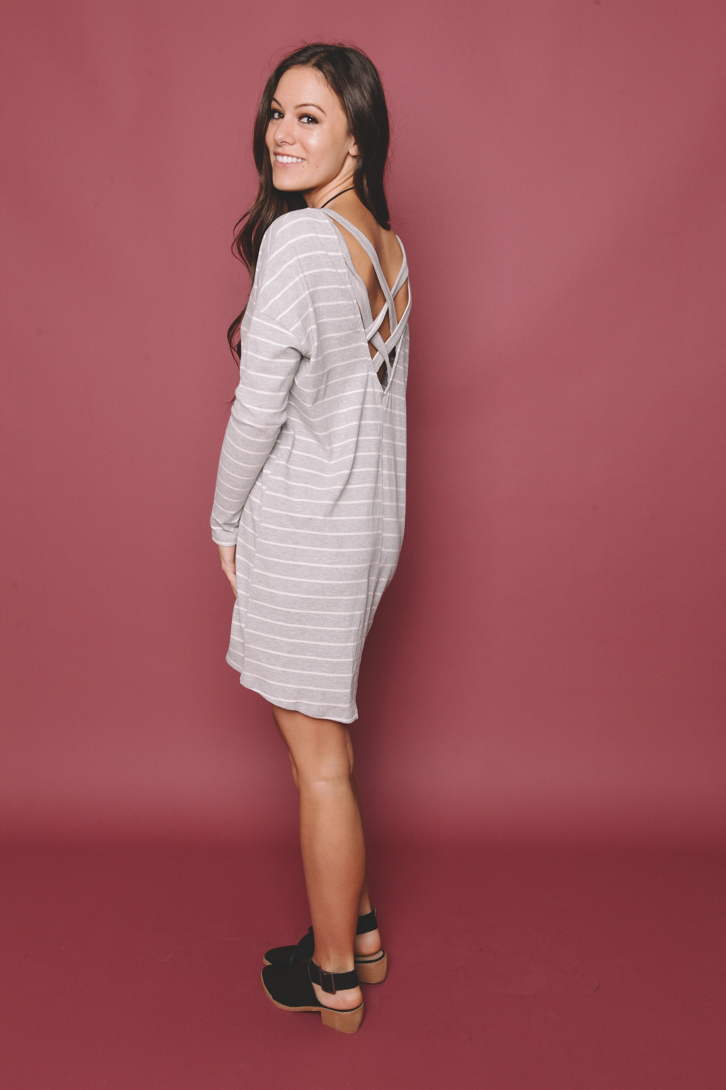 Amelie Striped Dress - Grey