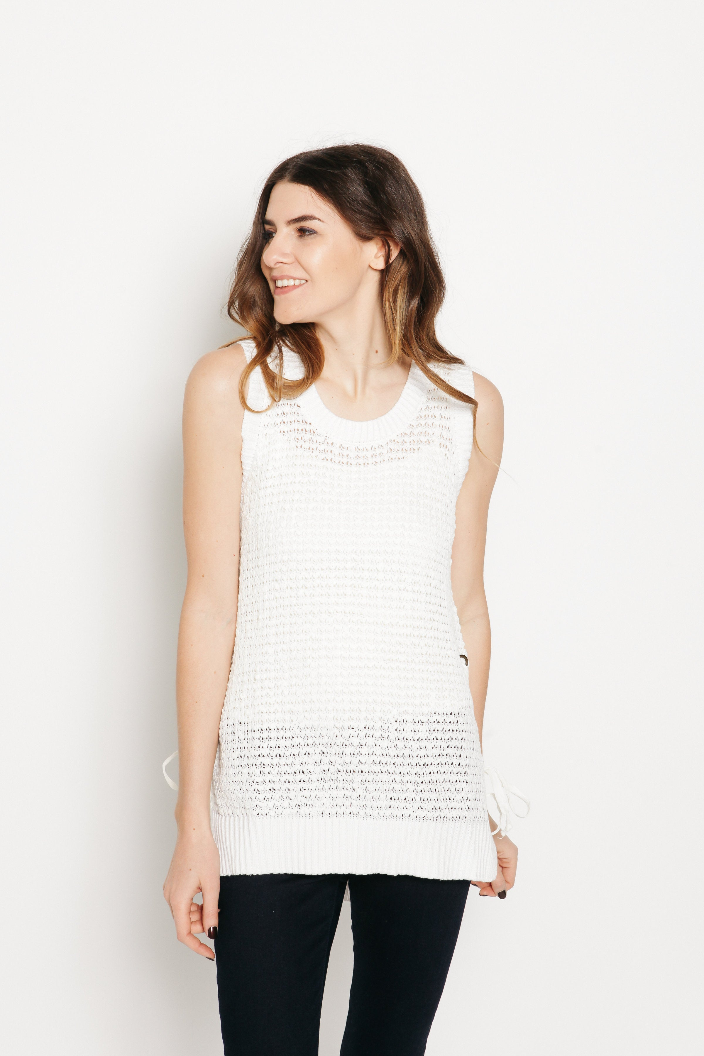 Autumn Knit Sleeveless Top - Off White