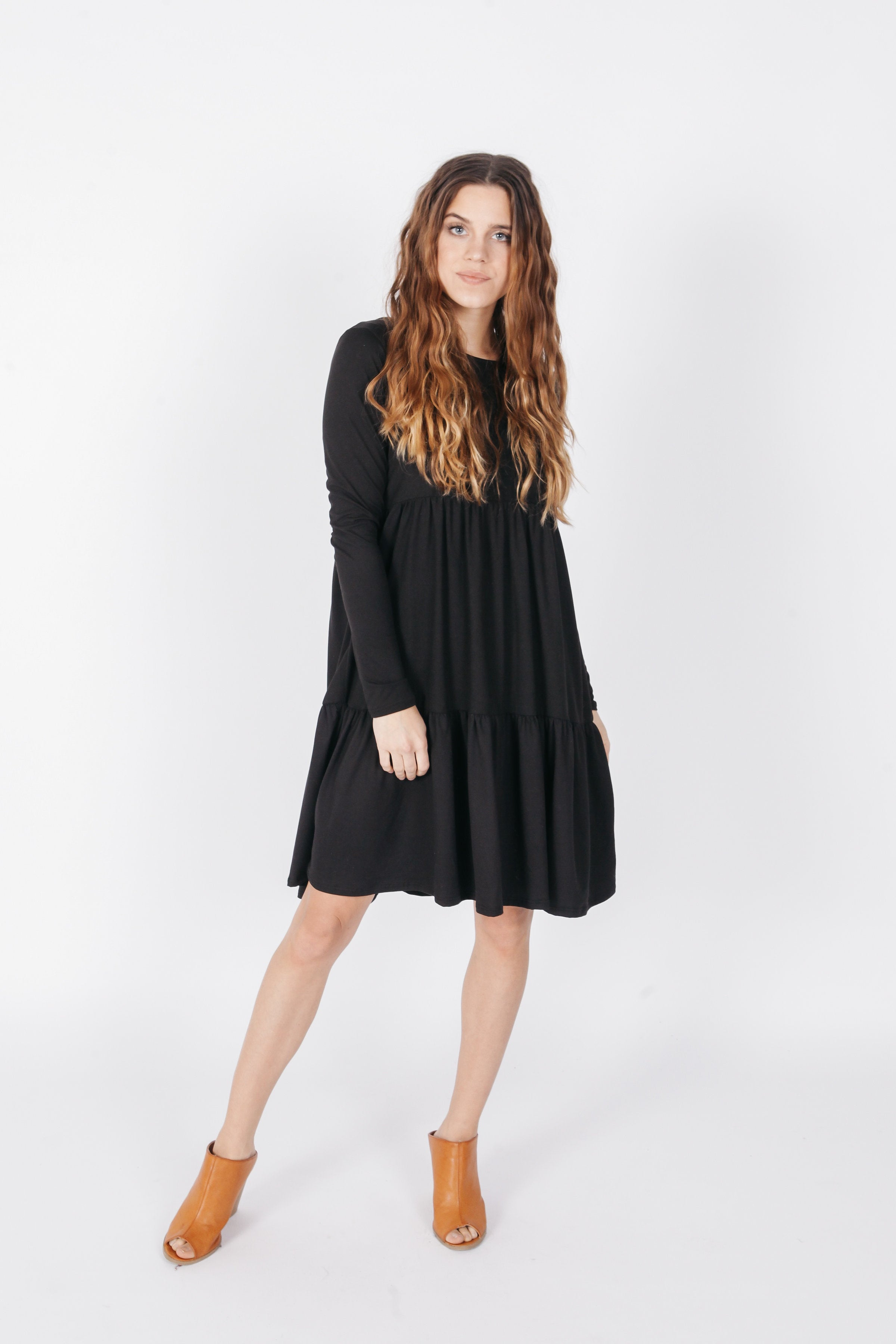 Ava Tiered Dress - Black