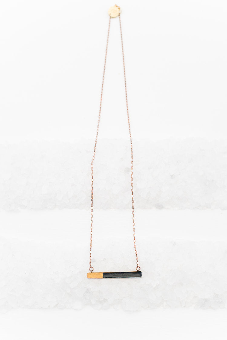 Black & Gold Bar Necklace