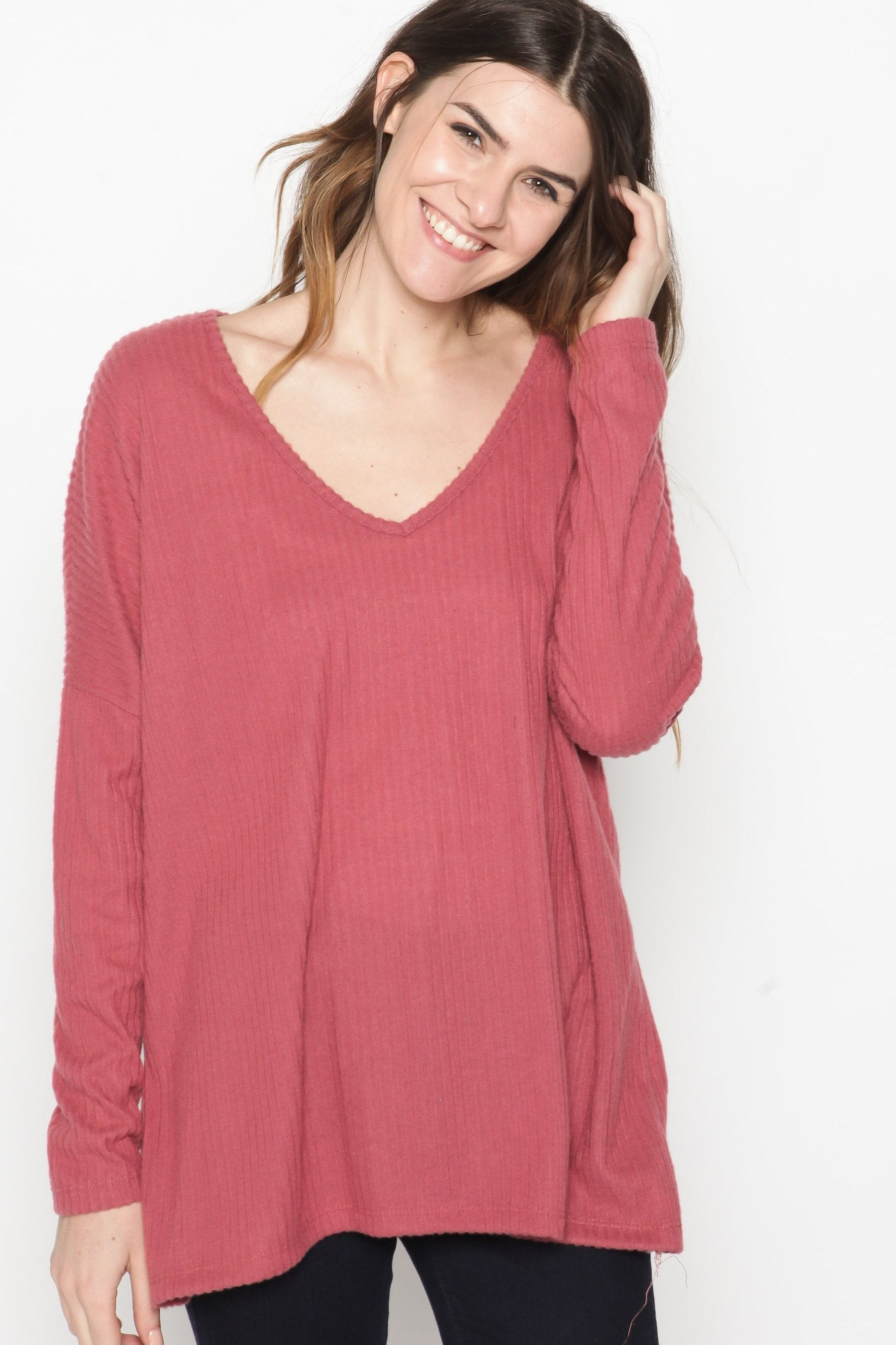 Barrett Long Sleeve V-Neck Top - Rust Top - Vinnie Louise
