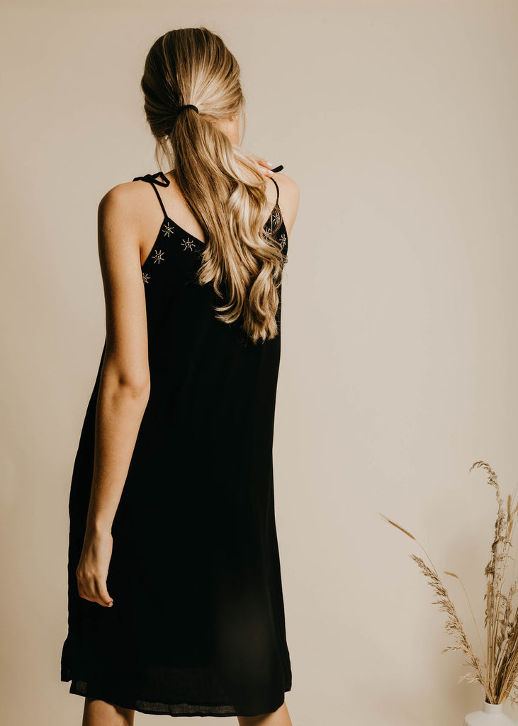 Baylor Beaded Slip Dress - Black