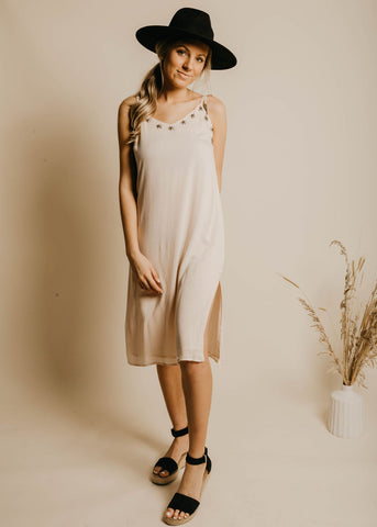 Baylor Beaded Slip Dress - Taupe