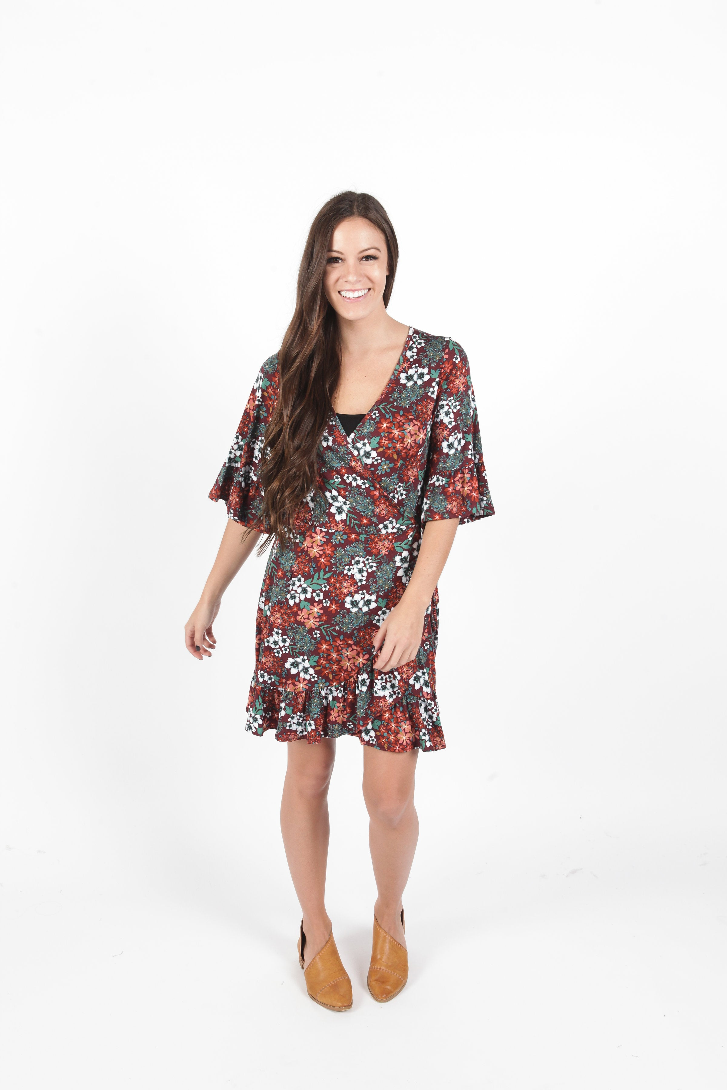 Bella Wrap Dress - Wine