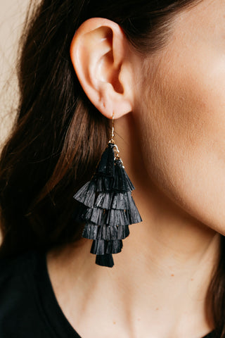 Black Raffia Earrings