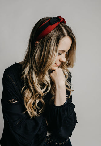 Bow Headband - Burgundy