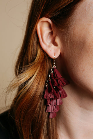 Burgundy Raffia Earrings