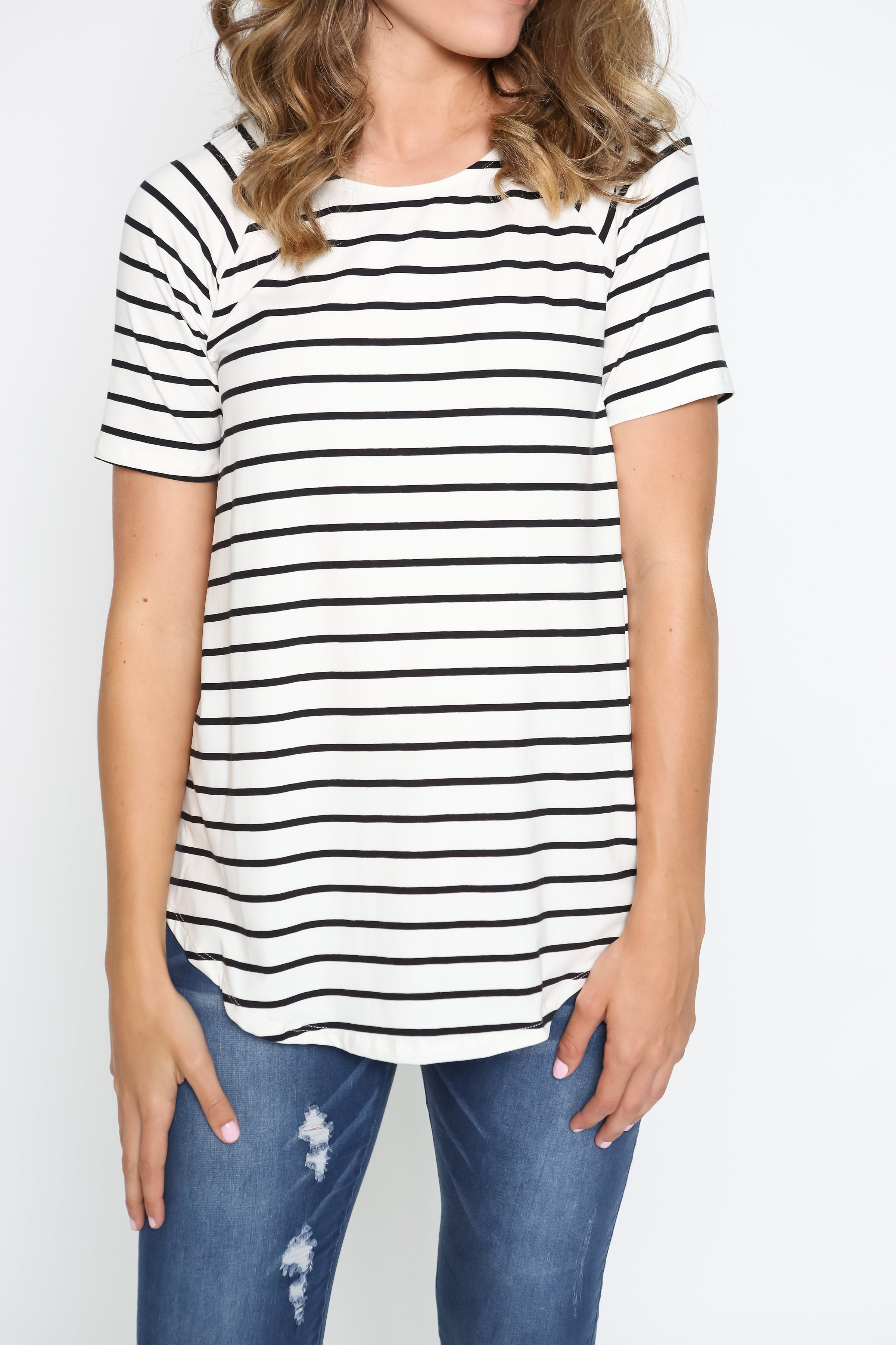 Cameron Striped Tee - Ivory
