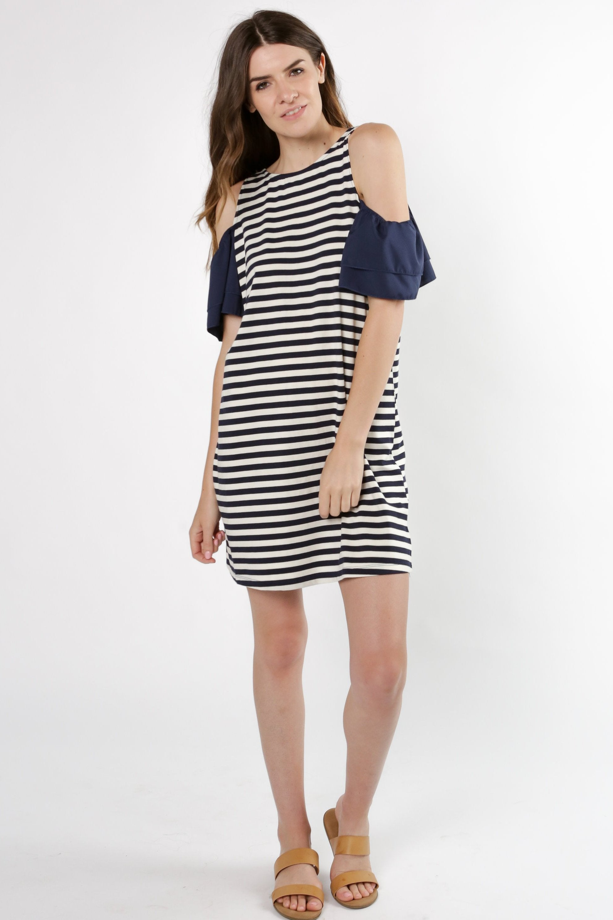 Camry Cold Shoulder Dress - Navy