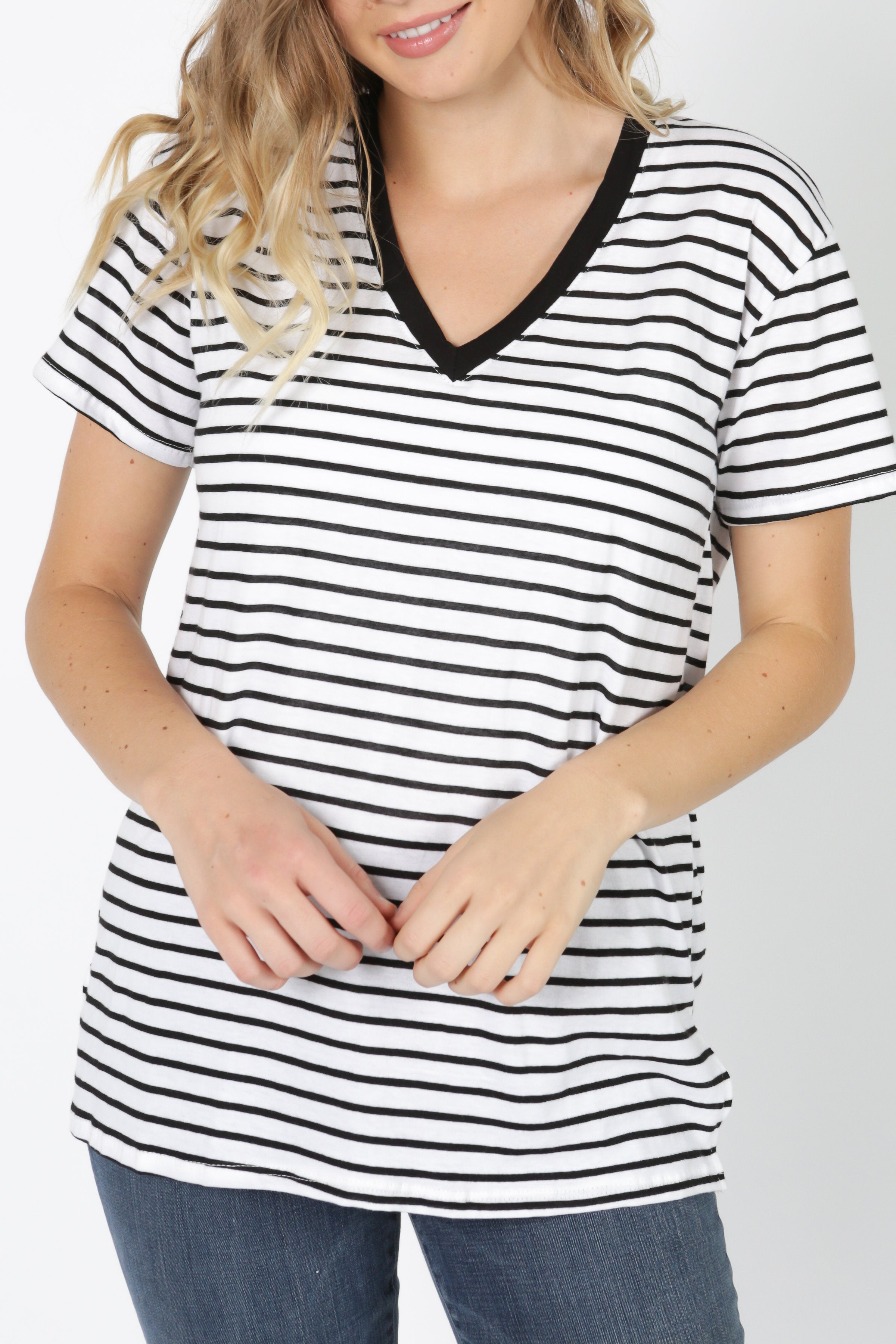 Candace Striped Tee - White