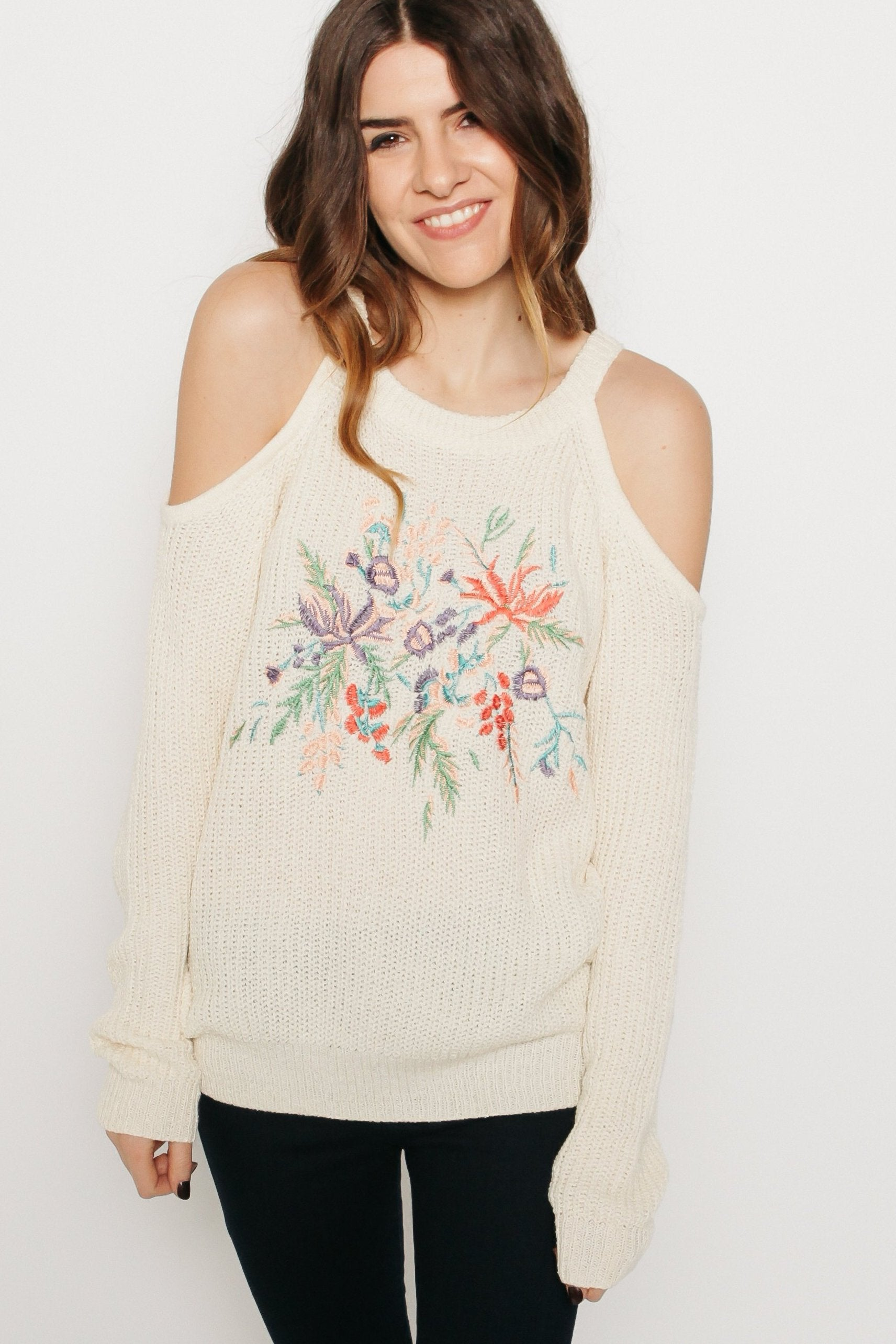 Catalina Cold Shoulder Sweater - Ivory
