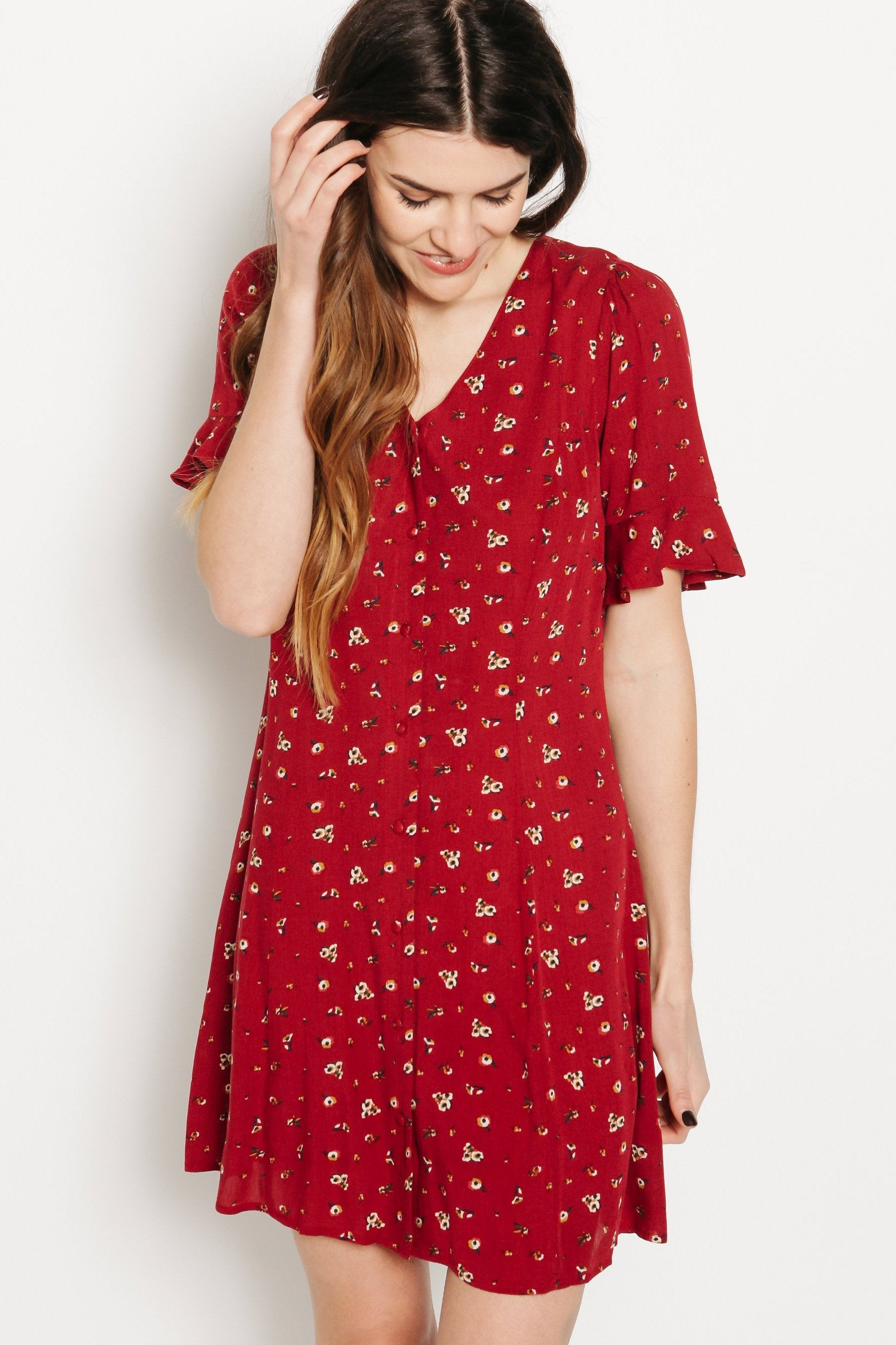 Clara Floral Dress - Red