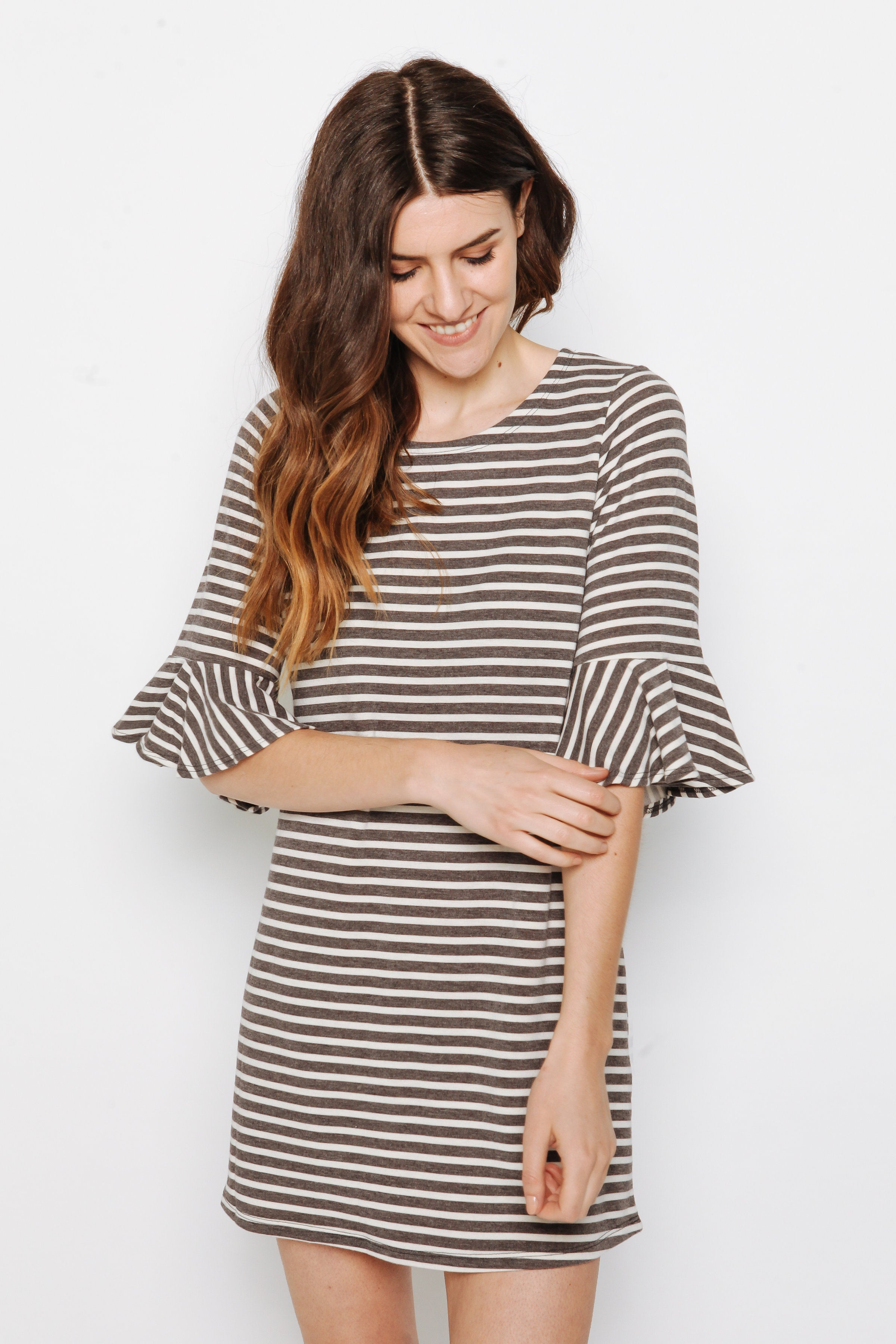 Corley Striped Dress - Charcoal