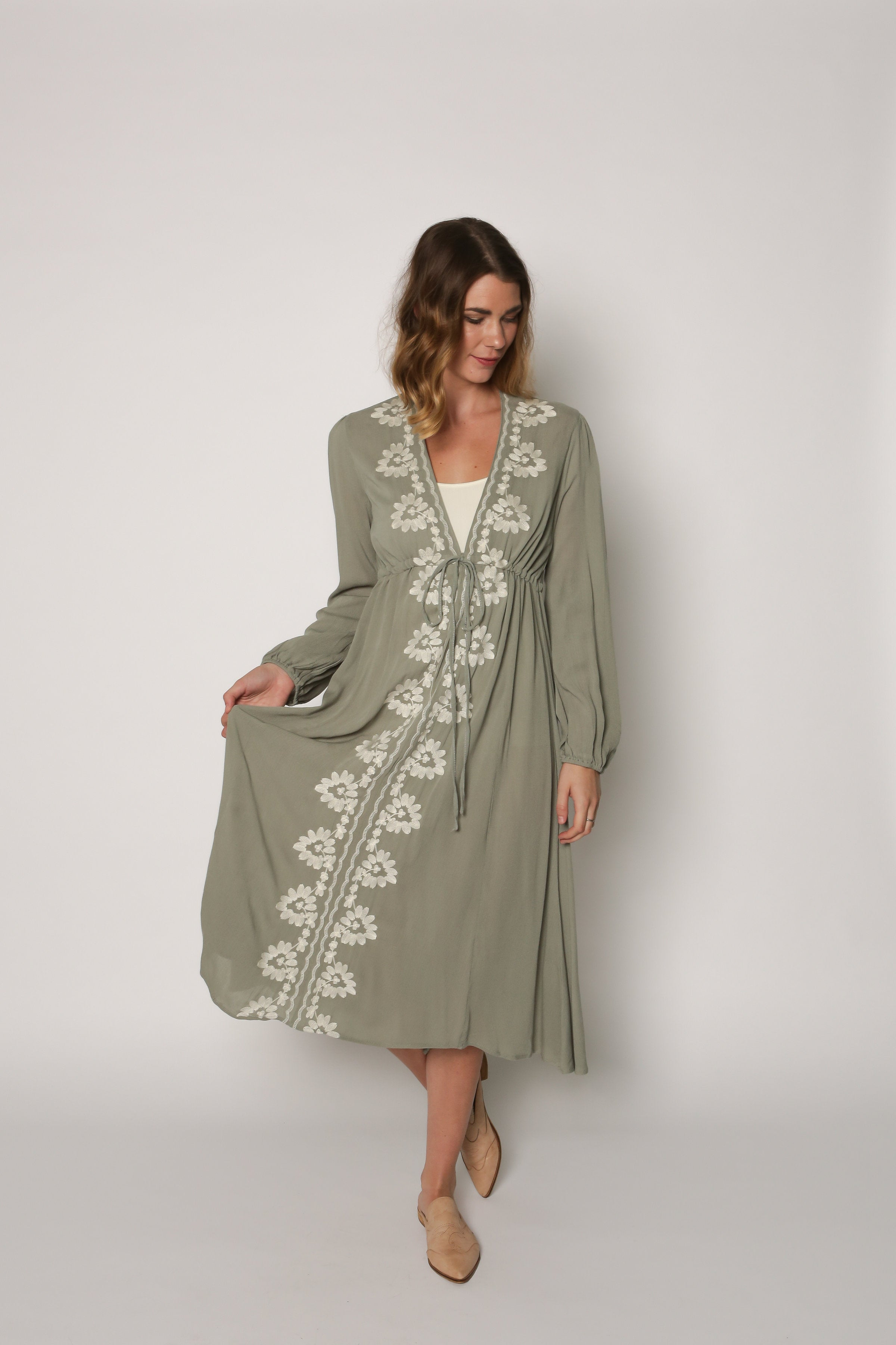 Cybil Embroidered Midi Dress - Sage