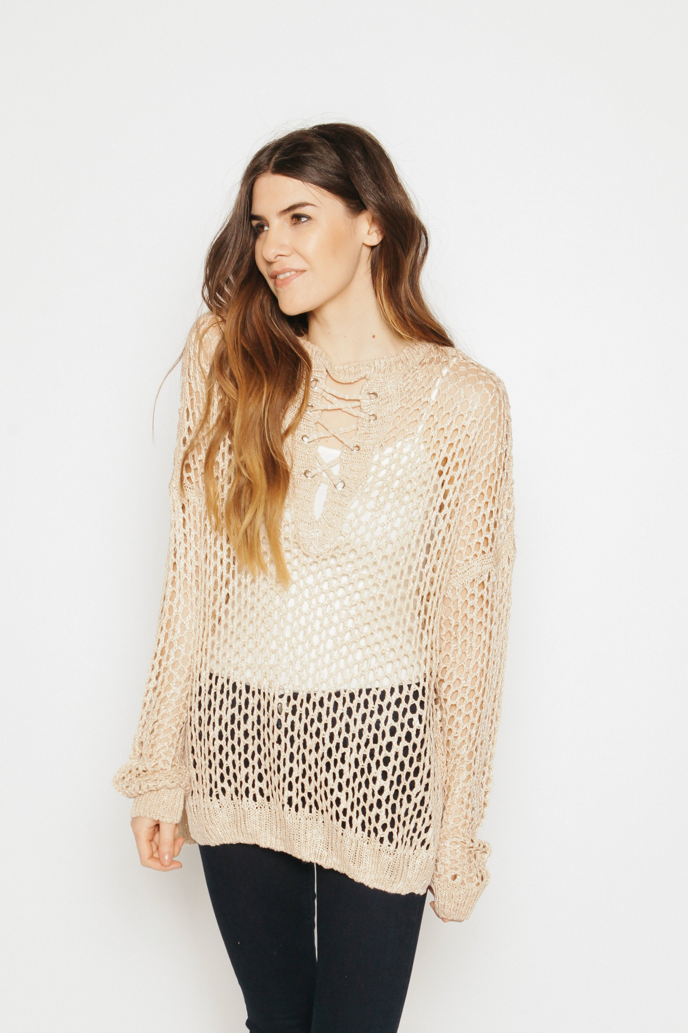 Delia Lace-Up Sweater