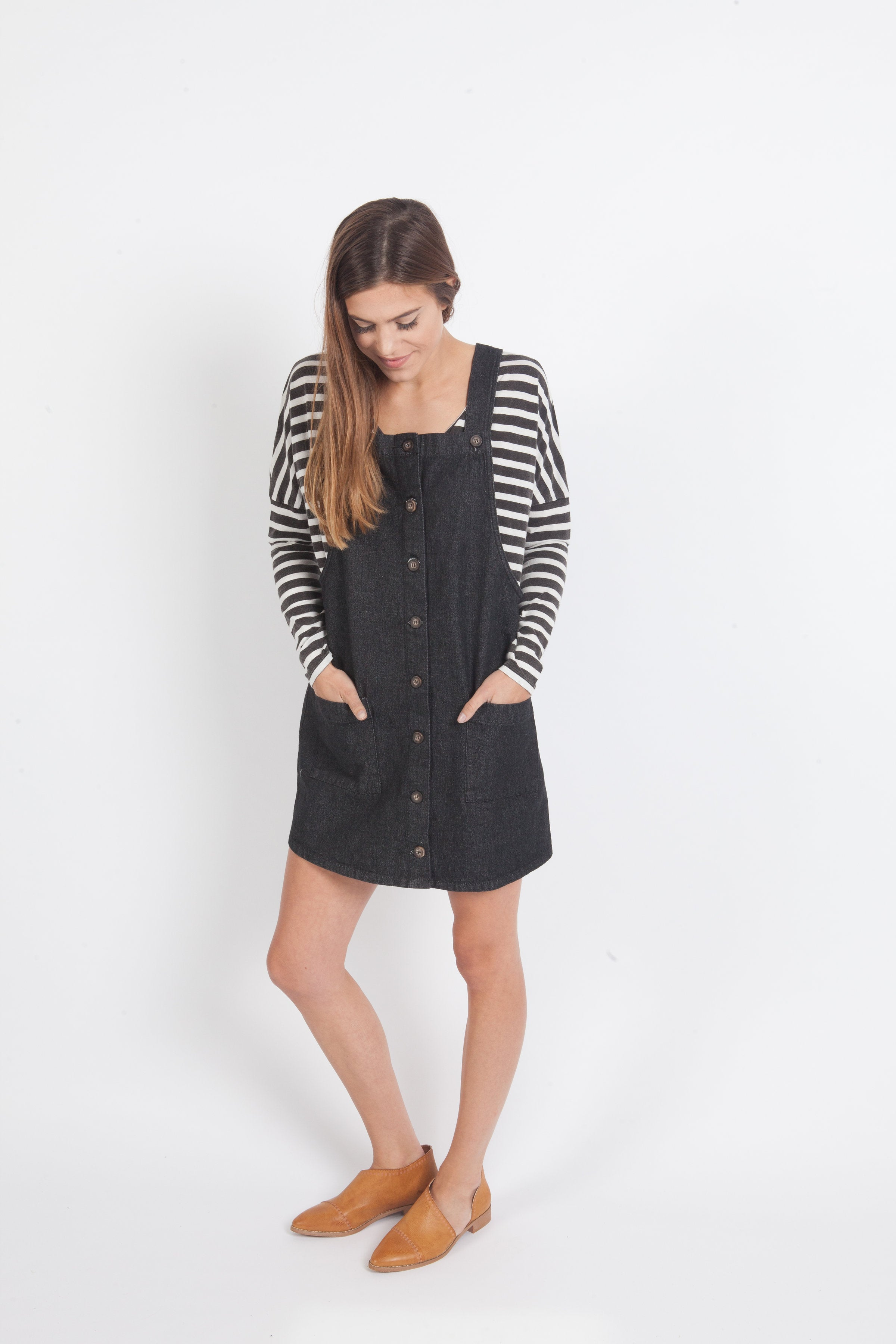 Denim Overall Dress - Black