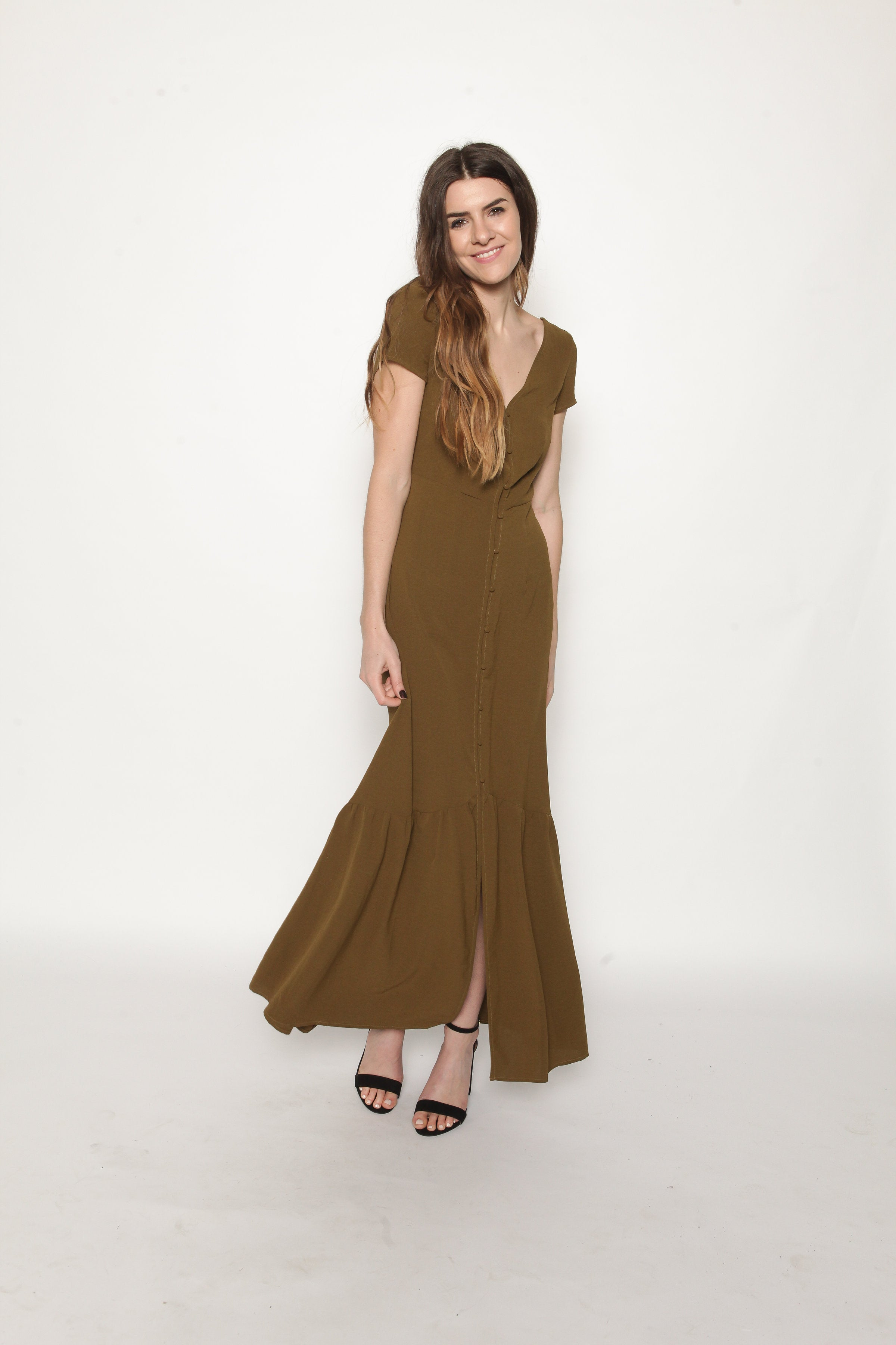 Donna Button-Up Maxi Dress - Olive