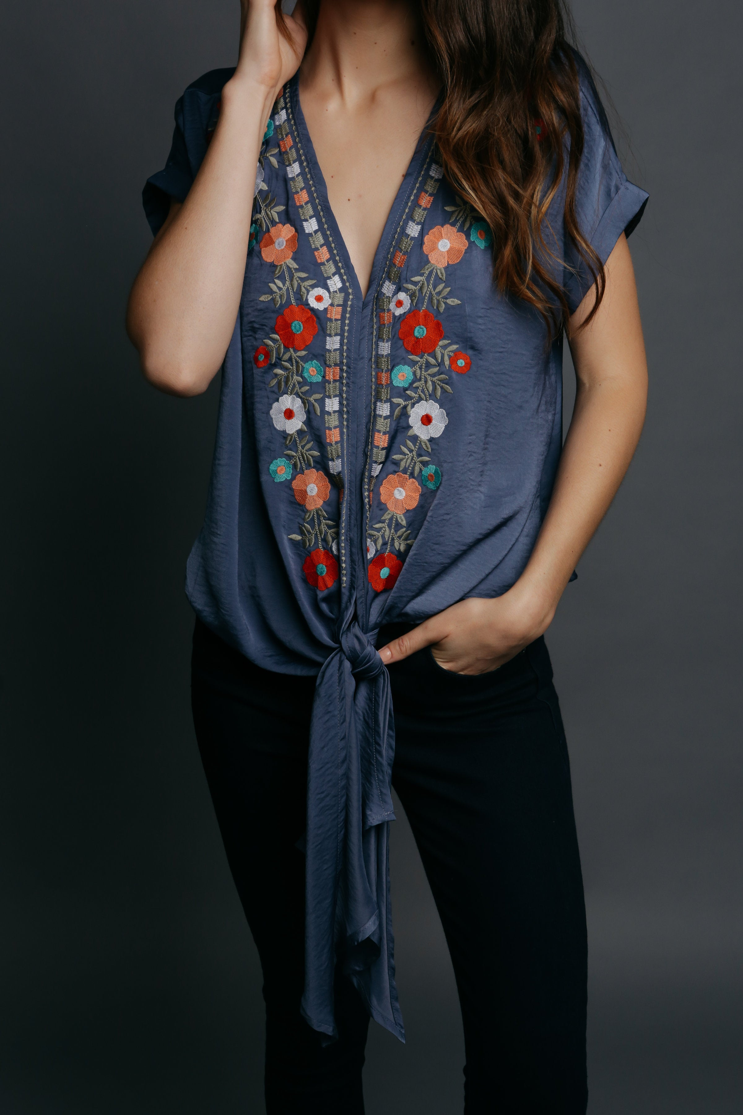 Frances Embroidered Top - Blue