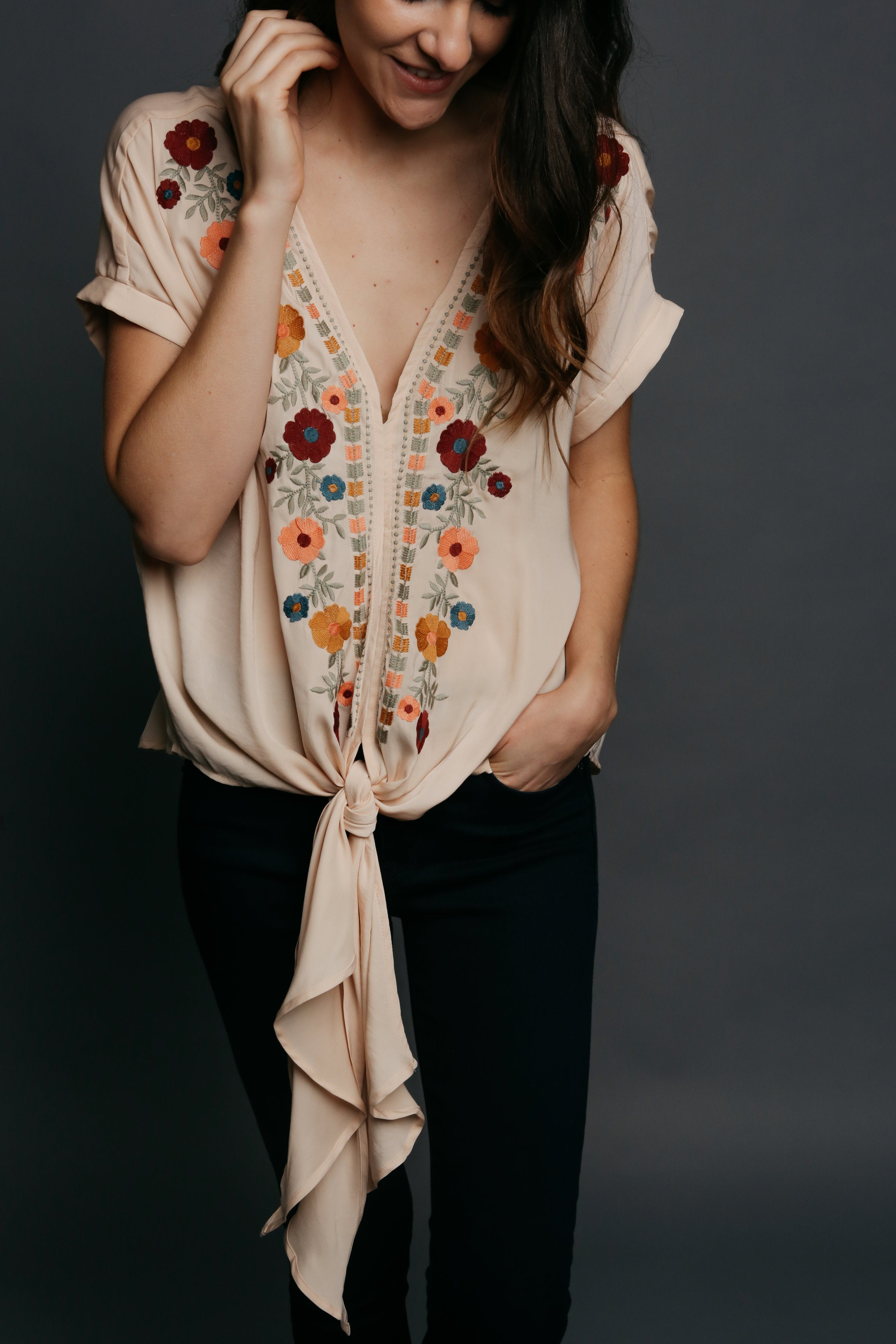 Frances Embroidered Top - Taupe
