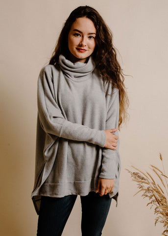 Frankie Turtleneck Top - Grey