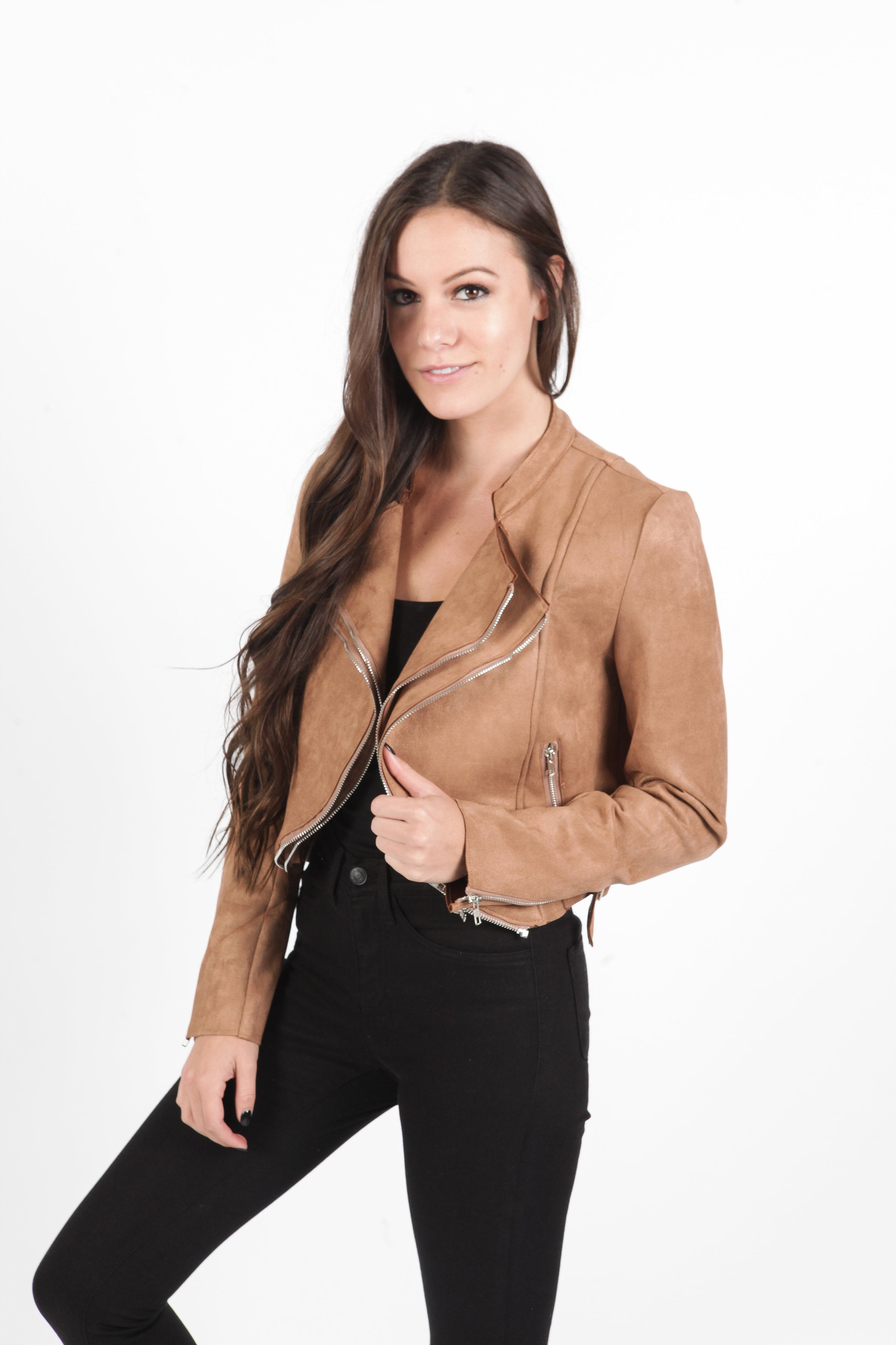Goldie Cropped Jacket - Camel