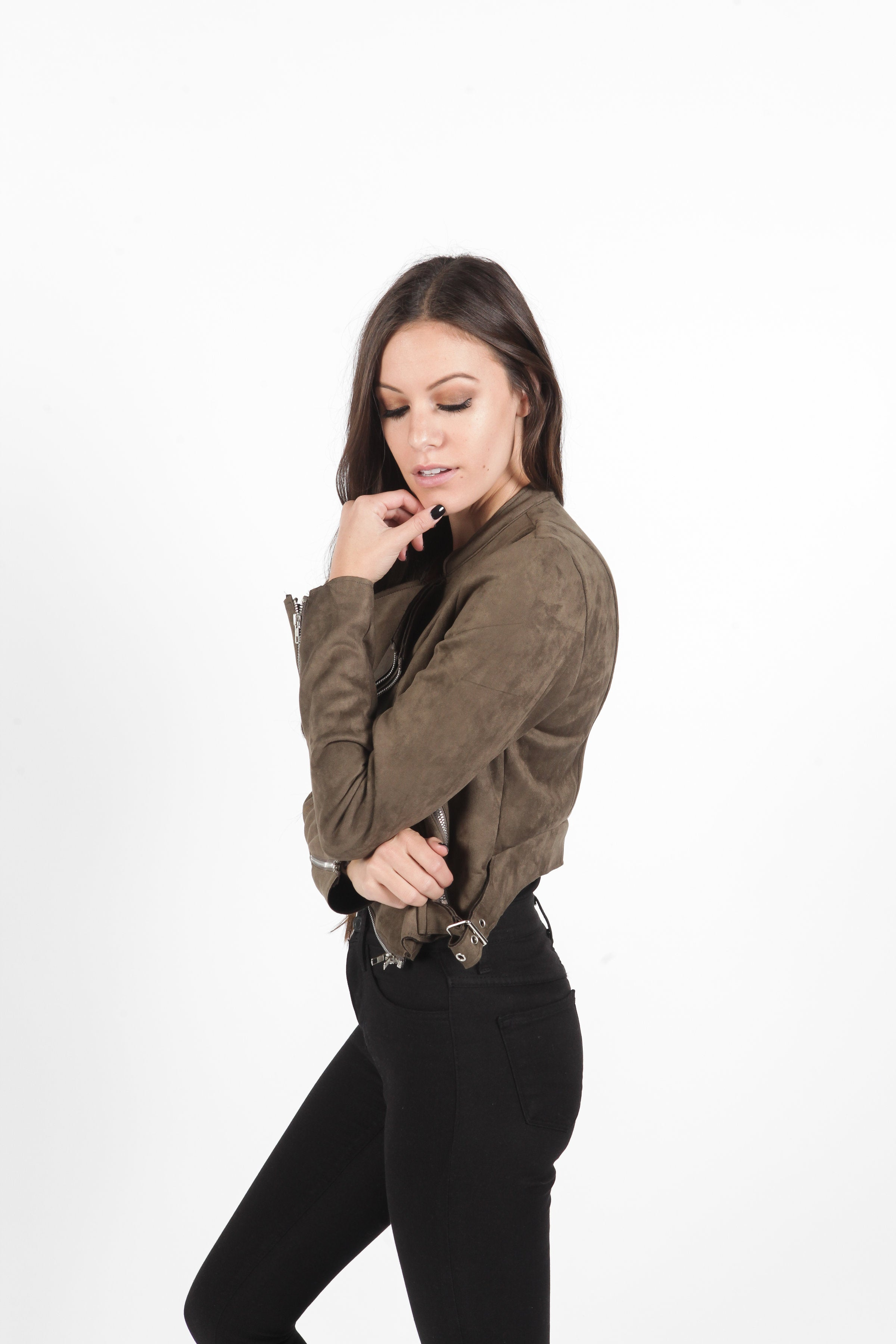Goldie Cropped Jacket - Olive
