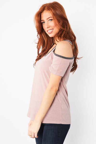 Hailey Cold Shoulder Top - Pink