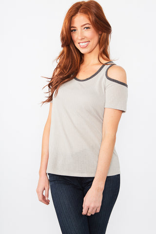 Hailey Cold Shoulder Top - Taupe