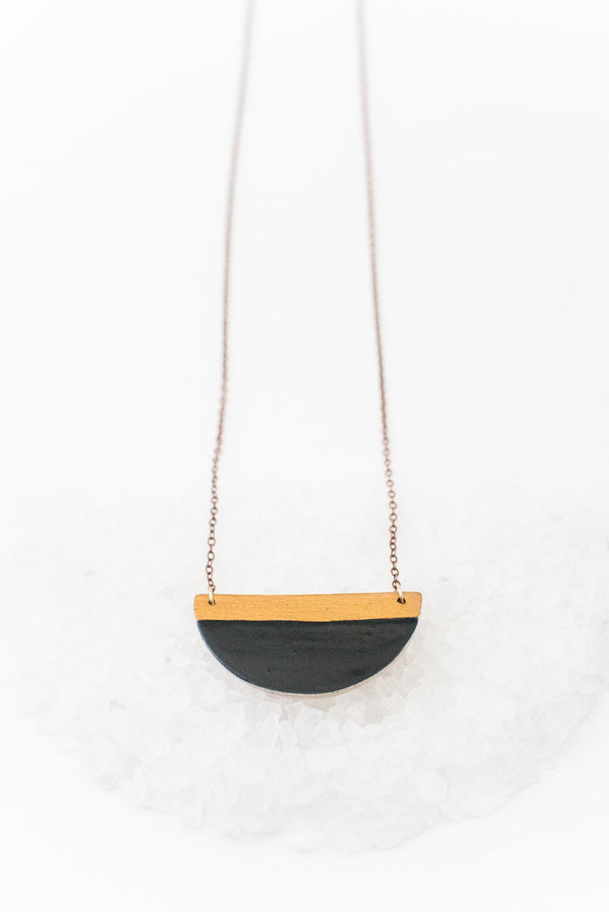 Black & Gold Half Moon Necklace Jewelry - Vinnie Louise
