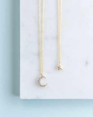 Mama and Me Moon and Star Necklace Set