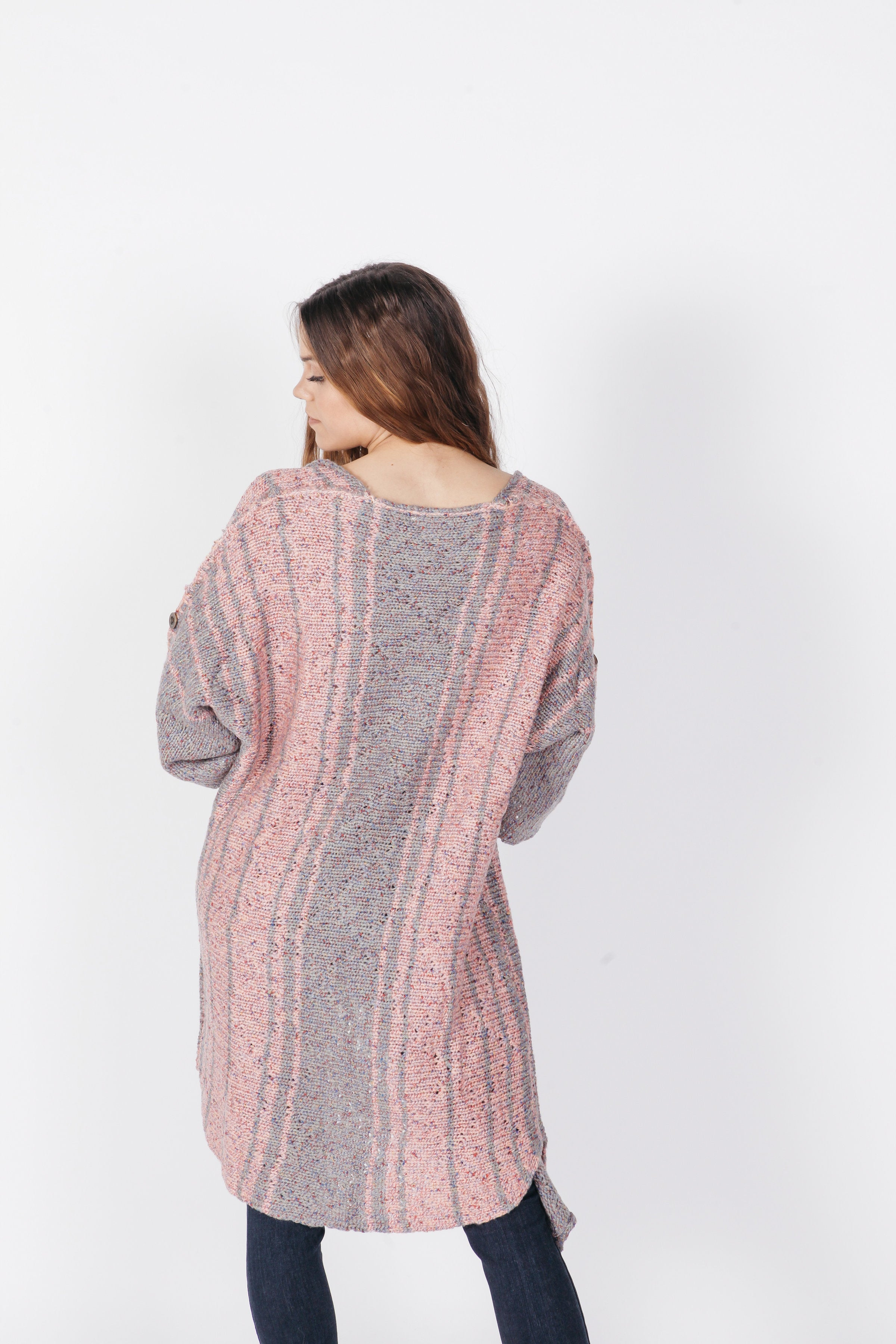 Holly Cardigan - Blush/Grey