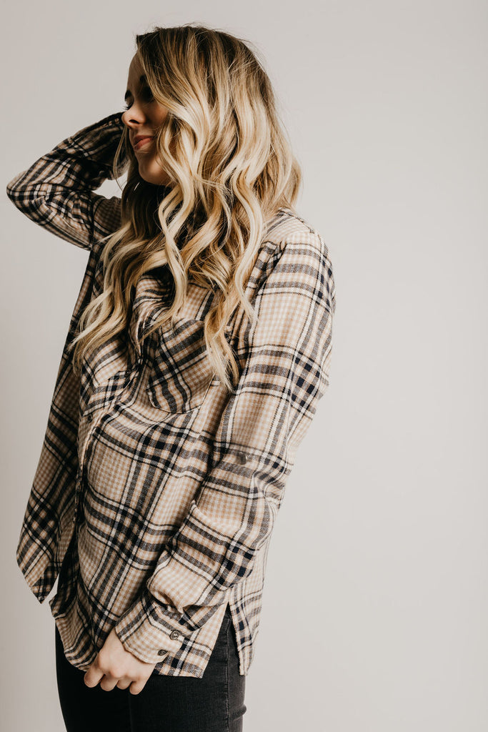 Addilyn Plaid Shirt - Beige