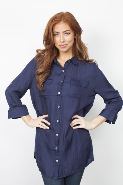 Leighton Silk Blouse - Navy