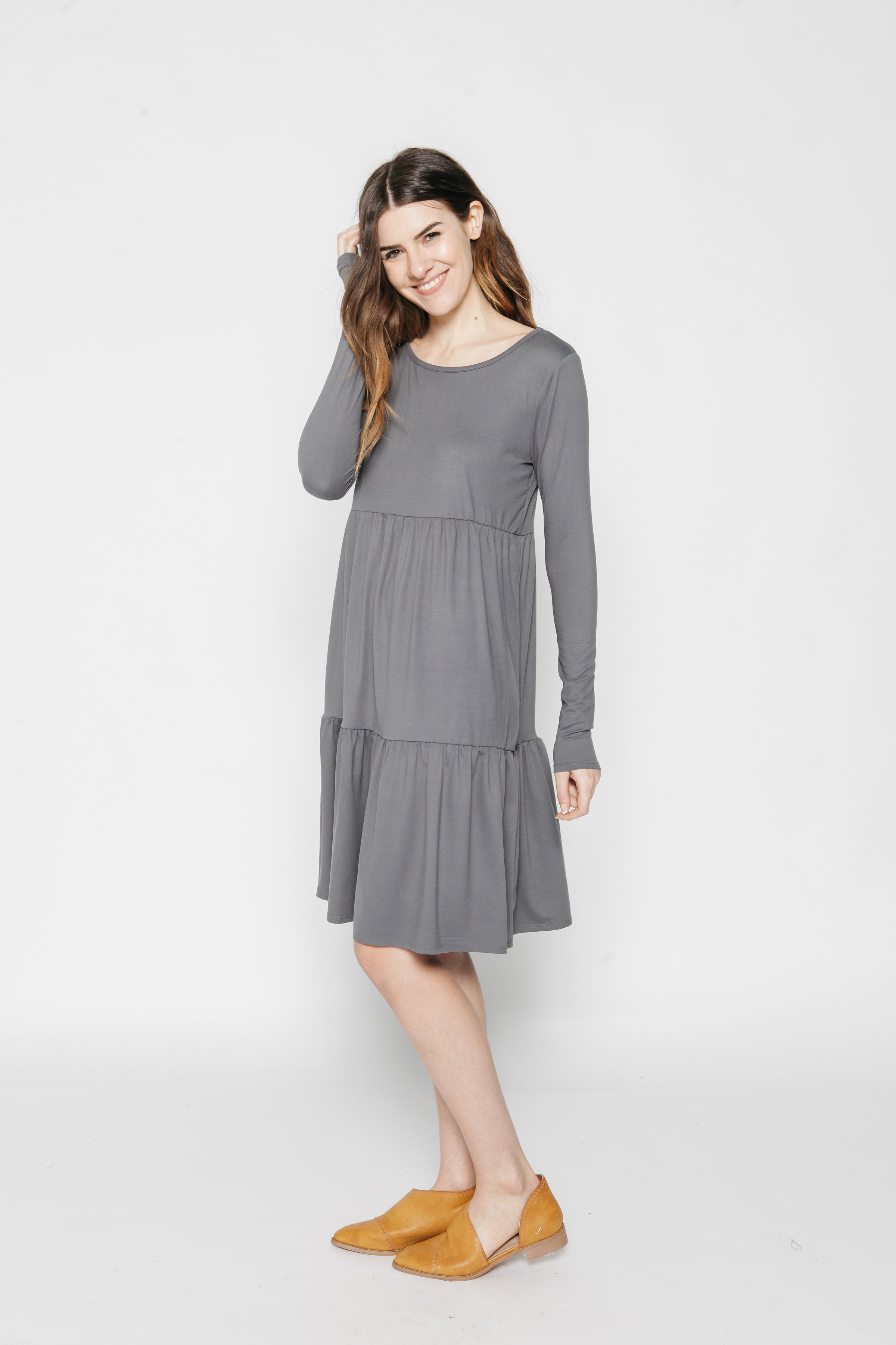 Ava Tiered Dress - Charcoal