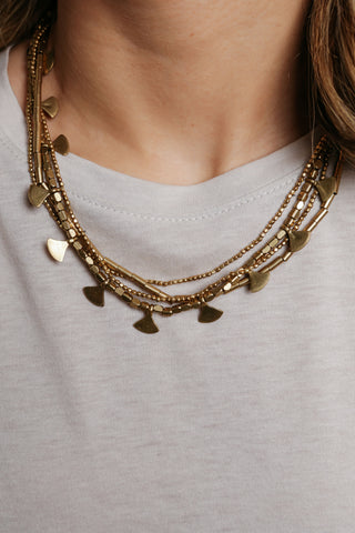 Inaya Layered Brass Necklace
