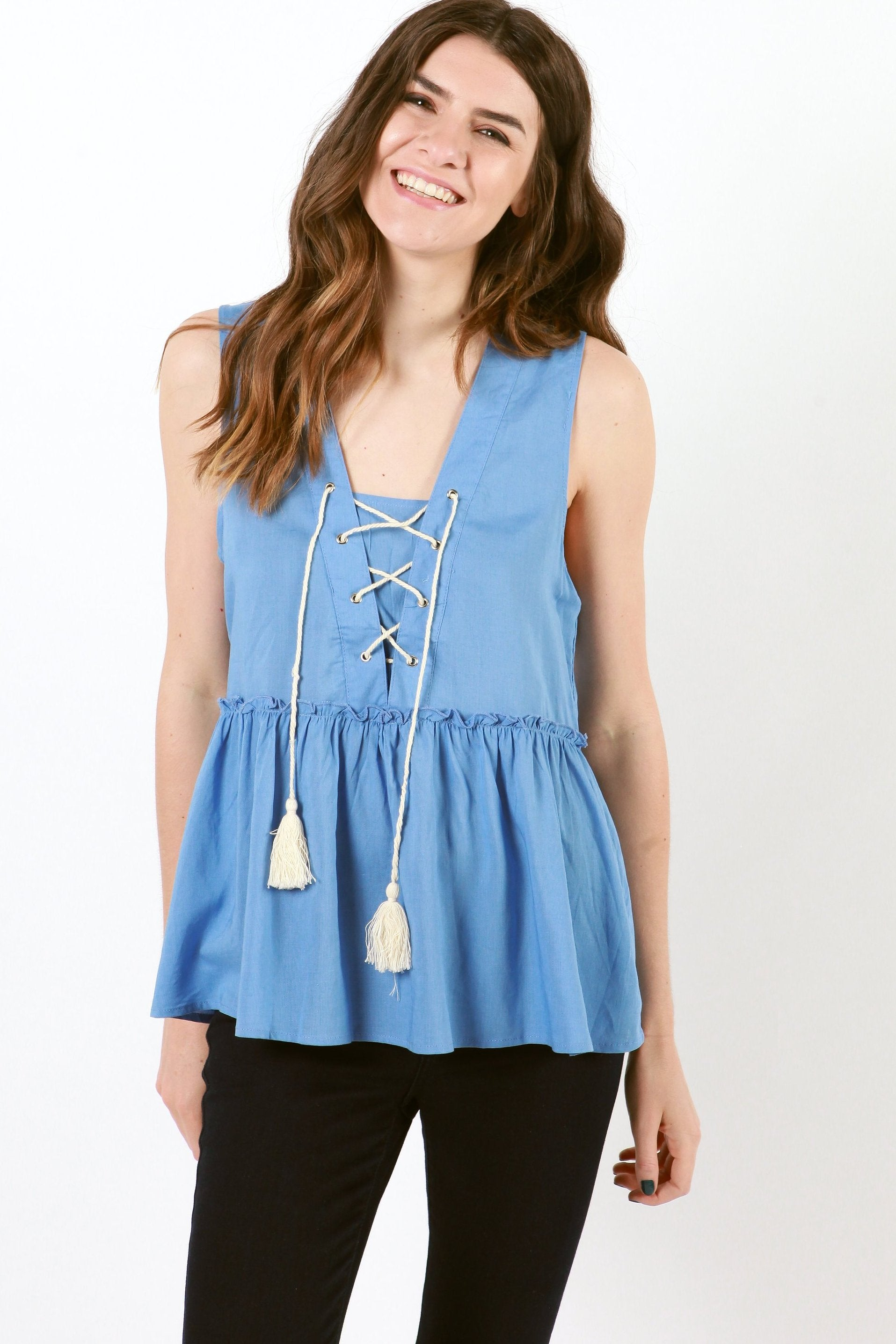 Isabella Lace Up Top - Blue