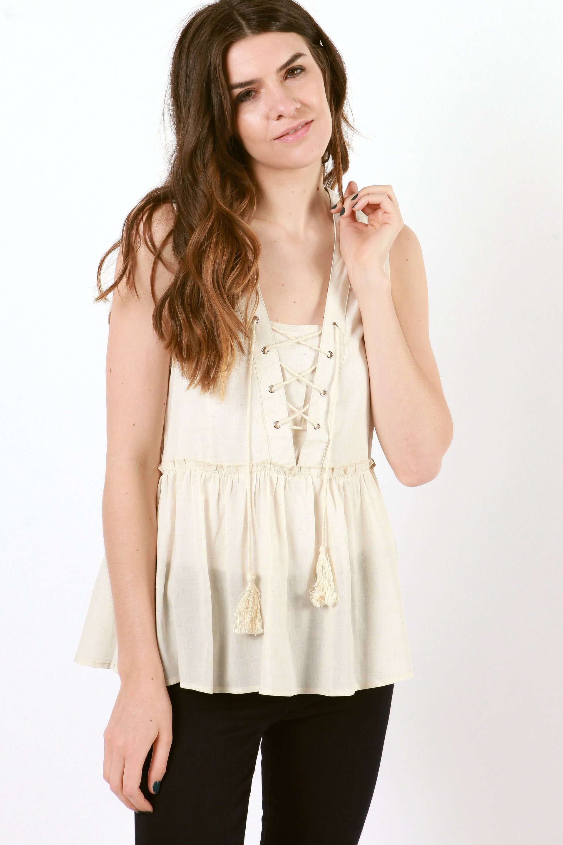 Isabella Lace Up Top - Natural