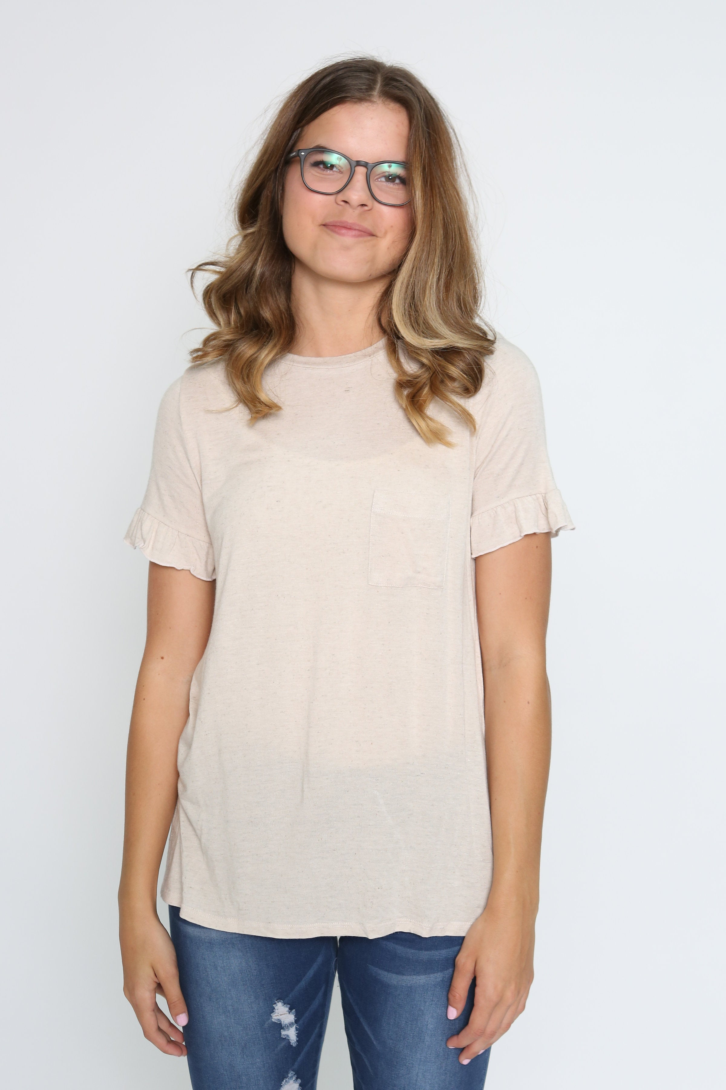 Izzy Ruffle Sleeve Top - Taupe