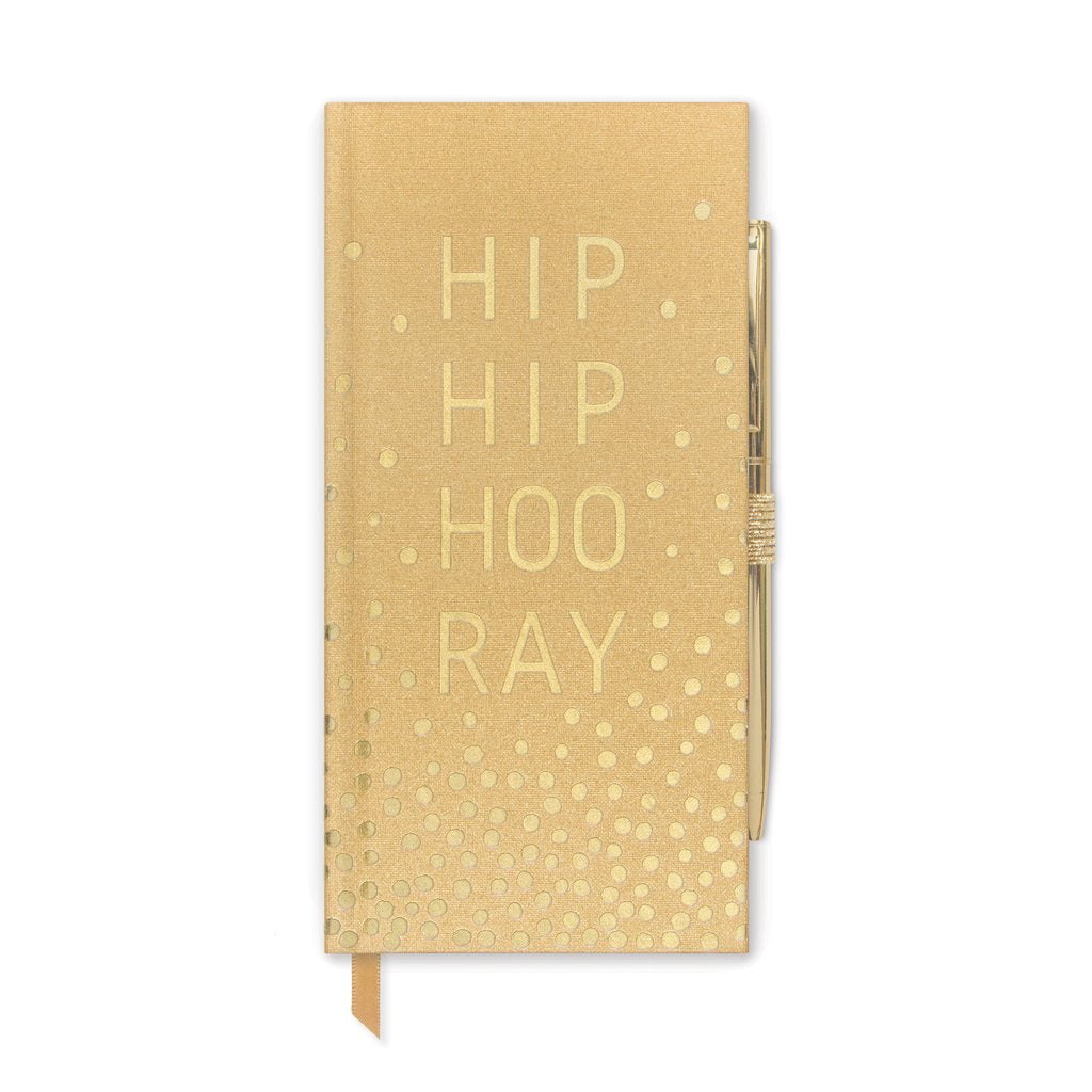 Hip Hip Hooray Gold Notepad with Pen