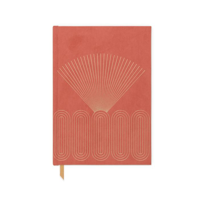HARD COVER SUEDE CLOTH JOURNAL WITH POCKET | RADIANT RAYS