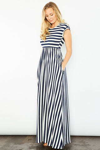 Juliana Striped Maxi Dress - Navy