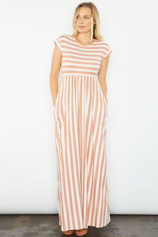 Juliana Striped Maxi Dress - Peach
