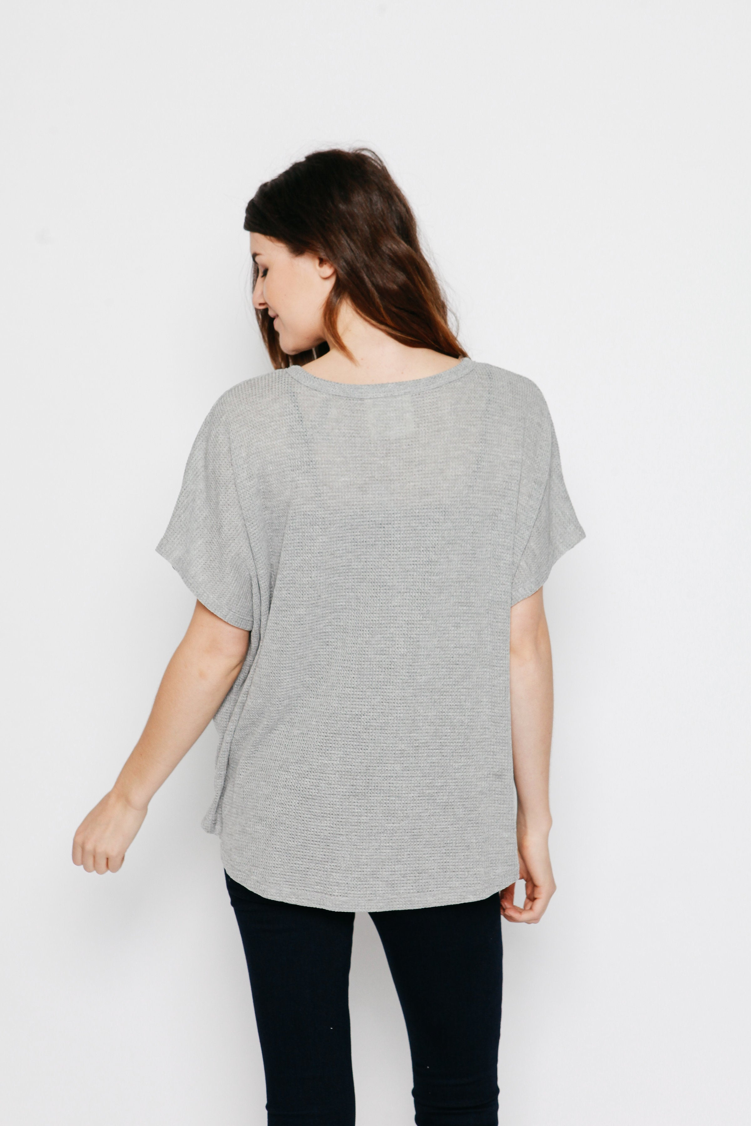 Layla Thermal Top - Heather Grey Top - Vinnie Louise