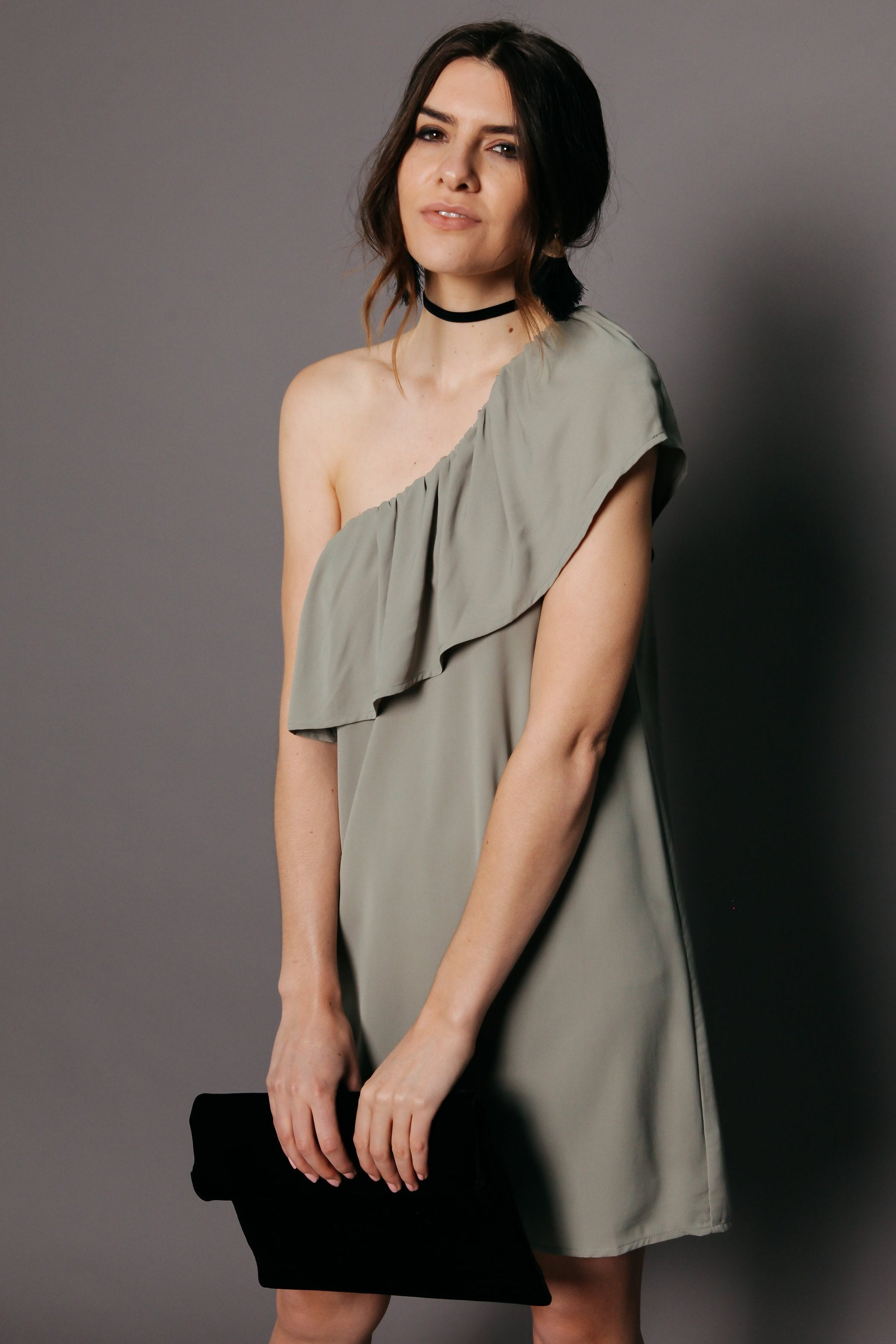 Lila One-Shoulder Dress - Sage