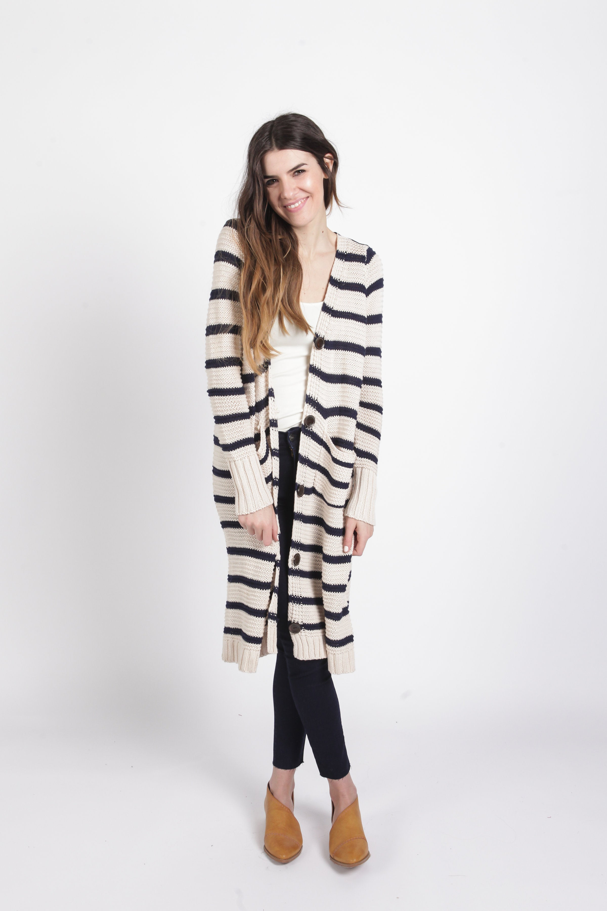 Lillian Striped Duster - Navy